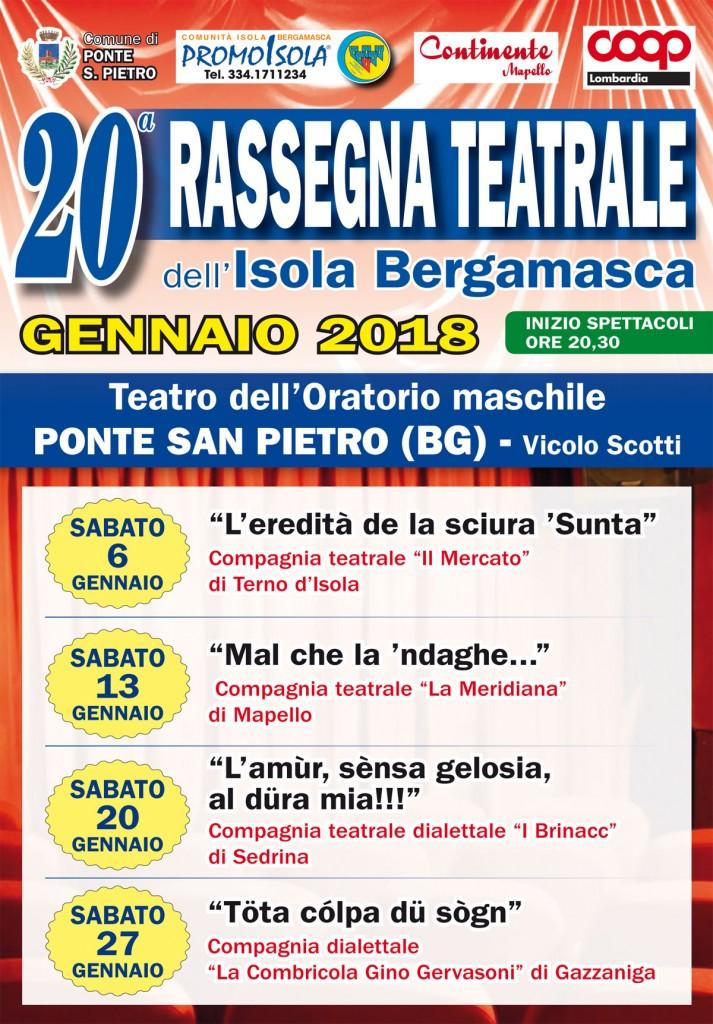 20a Rassegna Teatrale dell'Isola Bergamasca - Gennaio 2018 - Sconto per i Soci Coop