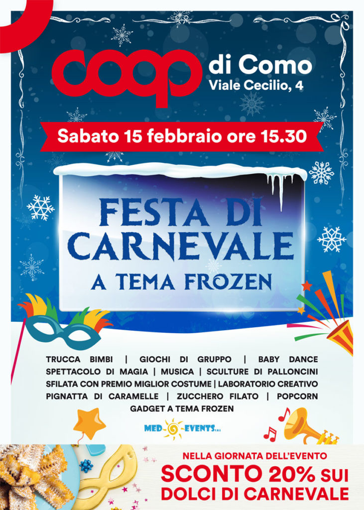 Alla Coop di Como festa di Carnevale a tema Frozen